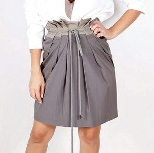 BRUNELLO CUCINELLI Gray Cotton Pleated Skirt